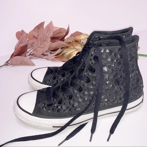 Stud Jewel Matte Black Womens Sneaker
